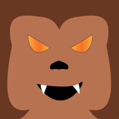 Werewolf Halloween Illustration in square