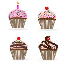 Cupcakes birthday anniversary logo vector design