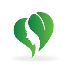 Love heart  leafs woman face logo