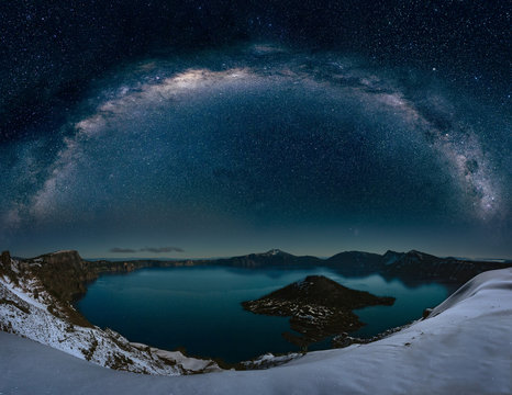 Crater lake with milkyway