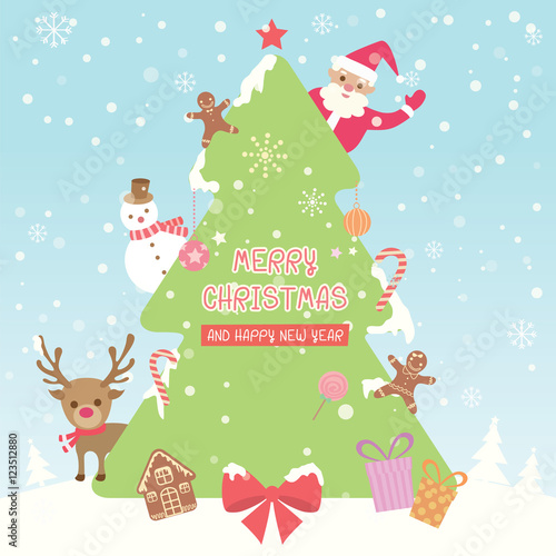 merry christmas and happy new year background with christmas tree santa claus snowman