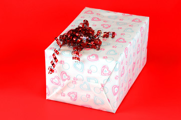 gift box isolated on red background