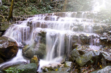 Waterfall in deep rain forest (Mae Kampong Waterfall in Chiang M