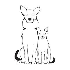 Vector group of pets Dog and Cat corgi