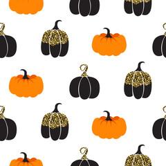 Halloween pumpkin vector seamless pattern. Black and orange pumpkins with gold glitter details white background.