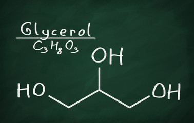 Structural model of Glycerol on the blackboard.