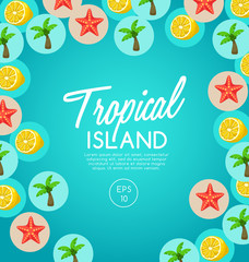 Tropical Island : island Elements : Vector Illustration