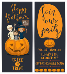 Happy Halloween party flyers set with lettering. Funny kids in carnival costumes mummy, vampire and witch sitting in pumpkin with sign - Trick or Treat. Join our party, cartoon vector illustration.