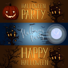 Happy Halloween party banner with spooky castle on tree in mystic forest at night under full moon. Cartoon vector illustration. Halloween night background with haunted house, pumpkin and flying bats