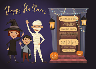 Halloween night party invitation with funny kids in carnival costumes mummy, vampire, witch and haunted house doorway, cartoon vector illustration. Halloween design template with space for text