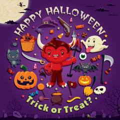 Vintage Halloween poster design with vector demon character.