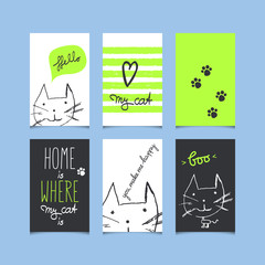 set of decorative greeting cards with cats