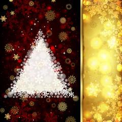 Christmas card with Christmas decor, snowflakes on golden