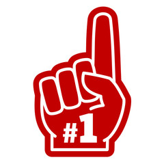 Obraz Number 1 one sports fan foam hand with raising forefinger vector icon - fototapety do salonu
