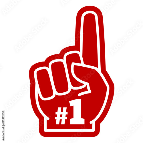 number 1 one sports fan foam hand with raising forefinger vector