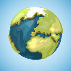 Cartoon earth planet globe vector illustration in style