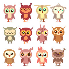 Cute owl vector flat characters set