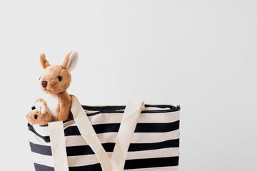 Kangaroo and black & white bag fabric