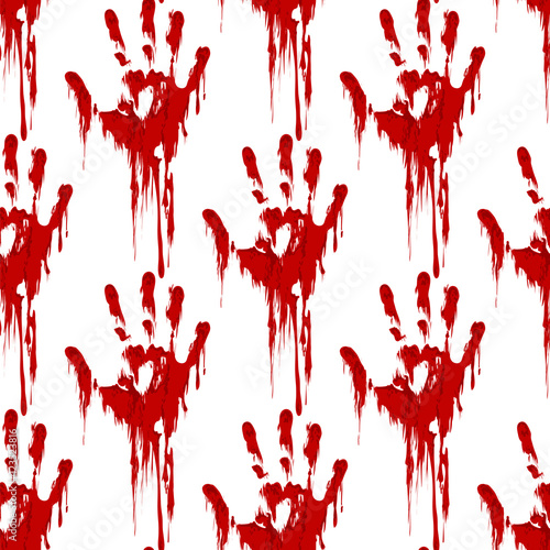Bloody hand print seamless pattern horror background  Vector