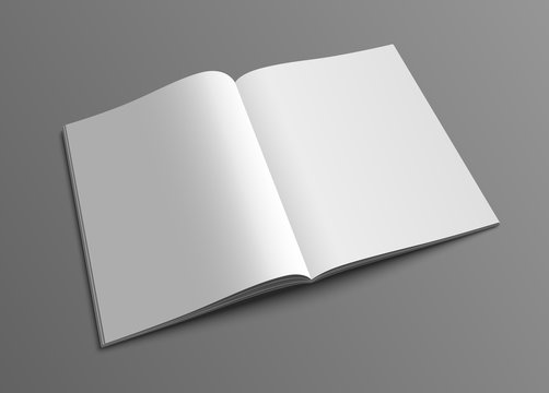 Vector open magazine or brochure mockup template.