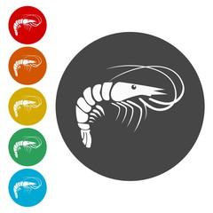 Shrimp. Single flat icon on the circle