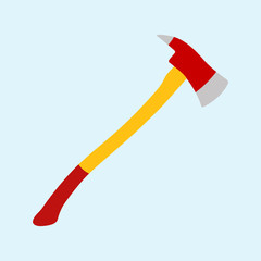 Icono plano hacha bombero color en fondo azul