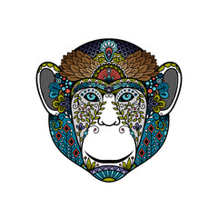 Colorful hipster monkey head isolated on white. Vector illustration
