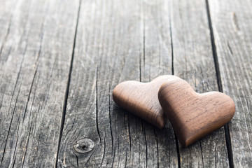 Handmade wooden hearts.