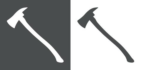 Icono plano silueta hacha bombero gris