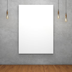 Blank white canvas with glowing light bulbs