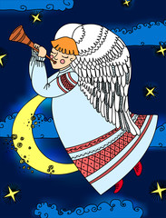 Angel with a flute flying on the background of sky and clouds. Christmas vector illustration. Children's picture on the theme of the winter holidays.