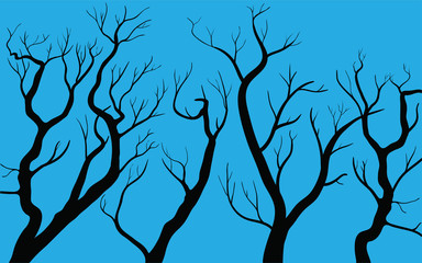 autumn trees on blue background