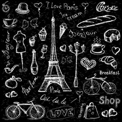 Paris symbols, hand drawn objects or icons on black  background