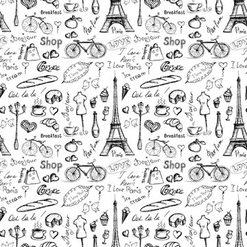 Seamless pattern Paris symbols