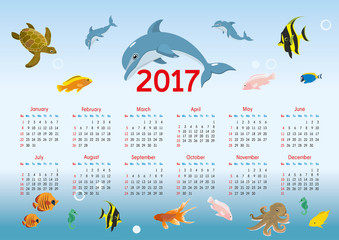 horizontal calendar for 2017. nautical theme. vector