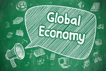 Global Economy - Doodle Illustration on Green Chalkboard.