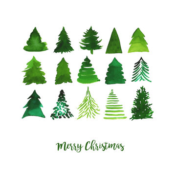 Watercolor vector illustration of Christmas trees. Merry Christmas and Happy New Year greeting card.