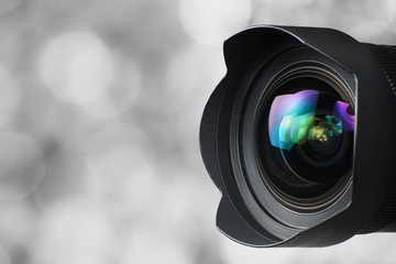 Camera Lens on Grey Background