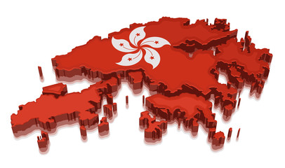 Map of Hong Kong. 3d render Image. Image with clipping path