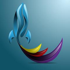Awesome flying rocket logo eps10 vector