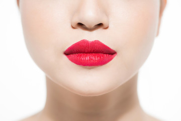 closeup portrait of young woman's lips zone make up
