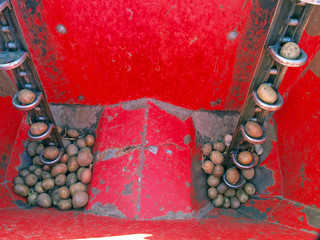 Twin furrow potato planter inside close up