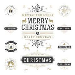 Christmas Labels and Badges Vector Design Elements Set.