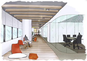 Outline sketch drawing and paint of a interior space,  office,Breakout