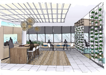 Outline sketch drawing and paint of a interior space,  office,Entrance and reception