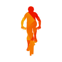 Polygonal mountain biker, abstract orange isolated vector cyclis