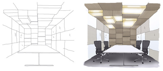 Outline sketch drawing and paint of a interior space,  office,Meeting Room