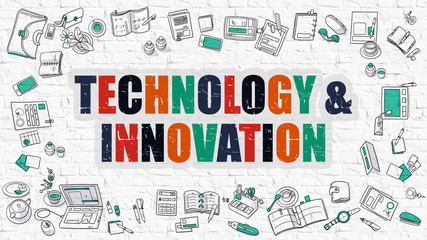 Technology and Innovation on White Brick Wall.