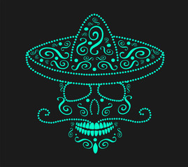 Mexican skull with sombrero, Day of the dead neon color