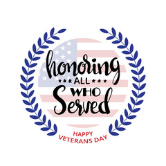 Honoring all who served handwritten lettering